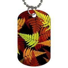 3d Red Abstract Fern Leaf Pattern Dog Tag (two Sides)