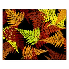 3d Red Abstract Fern Leaf Pattern Rectangular Jigsaw Puzzl