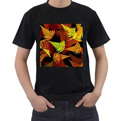 3d Red Abstract Fern Leaf Pattern Men s T Shirt (black) (two Sided)