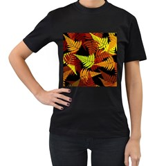 3d Red Abstract Fern Leaf Pattern Women s T Shirt (black) (two Sided)