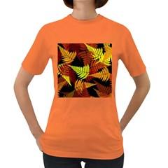 3d Red Abstract Fern Leaf Pattern Women s Dark T Shirt
