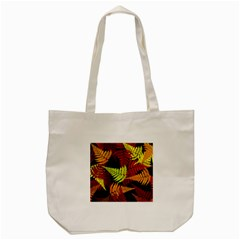 3d Red Abstract Fern Leaf Pattern Tote Bag (Cream)