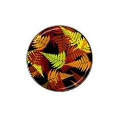 3d Red Abstract Fern Leaf Pattern Hat Clip Ball Marker