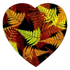 3d Red Abstract Fern Leaf Pattern Jigsaw Puzzle (heart)