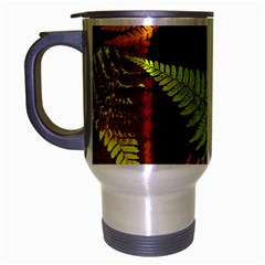 3d Red Abstract Fern Leaf Pattern Travel Mug (silver Gray)