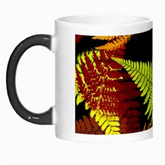 3d Red Abstract Fern Leaf Pattern Morph Mugs