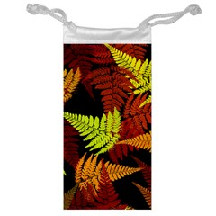 3d Red Abstract Fern Leaf Pattern Jewelry Bag