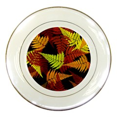 3d Red Abstract Fern Leaf Pattern Porcelain Plates