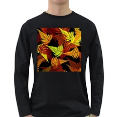 3d Red Abstract Fern Leaf Pattern Long Sleeve Dark T Shirts