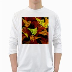 3d Red Abstract Fern Leaf Pattern White Long Sleeve T-Shirts
