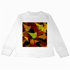 3d Red Abstract Fern Leaf Pattern Kids Long Sleeve T Shirts