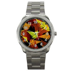 3d Red Abstract Fern Leaf Pattern Sport Metal Watch