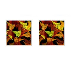 3d Red Abstract Fern Leaf Pattern Cufflinks (square)