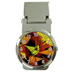 3d Red Abstract Fern Leaf Pattern Money Clip Watches