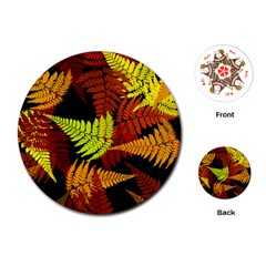 3d Red Abstract Fern Leaf Pattern Playing Cards (round)