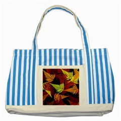 3d Red Abstract Fern Leaf Pattern Striped Blue Tote Bag