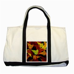 3d Red Abstract Fern Leaf Pattern Two Tone Tote Bag