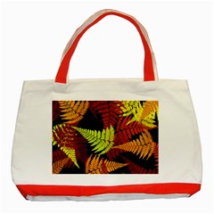 3d Red Abstract Fern Leaf Pattern Classic Tote Bag (Red)