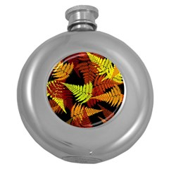 3d Red Abstract Fern Leaf Pattern Round Hip Flask (5 oz)