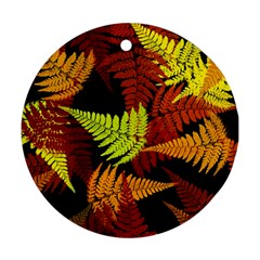 3d Red Abstract Fern Leaf Pattern Round Ornament (Two Sides)