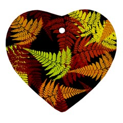 3d Red Abstract Fern Leaf Pattern Heart Ornament (two Sides)