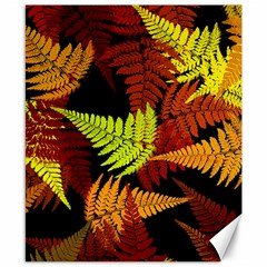 3d Red Abstract Fern Leaf Pattern Canvas 8  x 10
