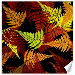 3d Red Abstract Fern Leaf Pattern Canvas 12  x 12