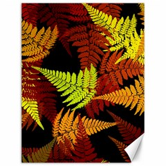 3d Red Abstract Fern Leaf Pattern Canvas 12  x 16