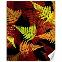 3d Red Abstract Fern Leaf Pattern Canvas 16  X 20