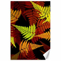 3d Red Abstract Fern Leaf Pattern Canvas 20  X 30