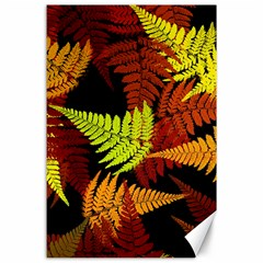 3d Red Abstract Fern Leaf Pattern Canvas 24  X 36
