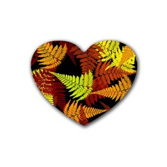 3d Red Abstract Fern Leaf Pattern Heart Coaster (4 Pack)