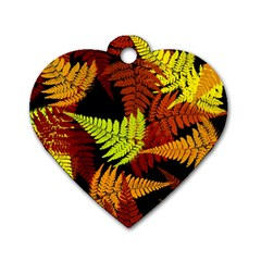 3d Red Abstract Fern Leaf Pattern Dog Tag Heart (two Sides)