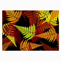 3d Red Abstract Fern Leaf Pattern Large Glasses Cloth
