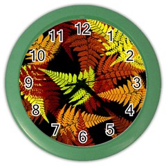 3d Red Abstract Fern Leaf Pattern Color Wall Clocks