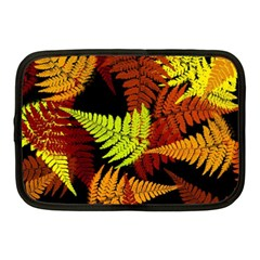 3d Red Abstract Fern Leaf Pattern Netbook Case (Medium)