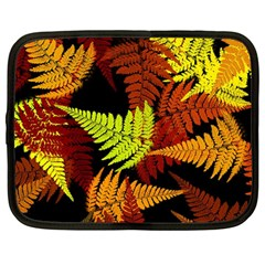 3d Red Abstract Fern Leaf Pattern Netbook Case (large)