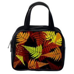 3d Red Abstract Fern Leaf Pattern Classic Handbags (one Side)