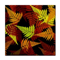 3d Red Abstract Fern Leaf Pattern Face Towel