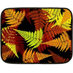 3d Red Abstract Fern Leaf Pattern Double Sided Fleece Blanket (mini)