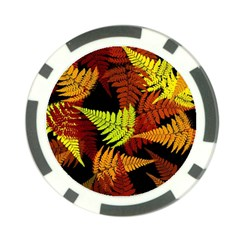 3d Red Abstract Fern Leaf Pattern Poker Chip Card Guard (10 Pack)