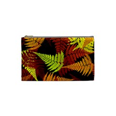 3d Red Abstract Fern Leaf Pattern Cosmetic Bag (small)