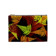 3d Red Abstract Fern Leaf Pattern Cosmetic Bag (Medium)