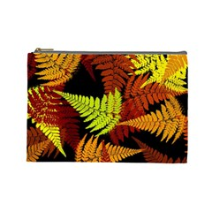 3d Red Abstract Fern Leaf Pattern Cosmetic Bag (large)