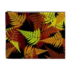 3d Red Abstract Fern Leaf Pattern Cosmetic Bag (XL)