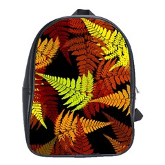 3d Red Abstract Fern Leaf Pattern School Bags(Large)