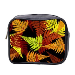 3d Red Abstract Fern Leaf Pattern Mini Toiletries Bag 2 Side