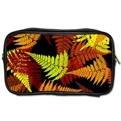 3d Red Abstract Fern Leaf Pattern Toiletries Bags