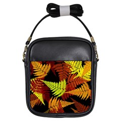 3d Red Abstract Fern Leaf Pattern Girls Sling Bags