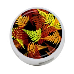 3d Red Abstract Fern Leaf Pattern 4 Port Usb Hub (two Sides)